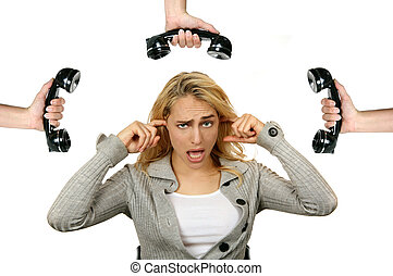 Woman Tired of the Telephone Ringing - Exhausted Woman...
