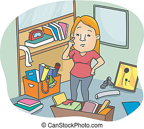Illustration of a Woman thinking some ways to Declutter an Office Space