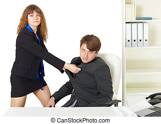 Woman to give a man thrashing in office