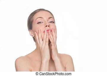 Woman Touching her Face. Perfect Fresh Skin