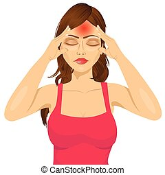 portrait of woman touching her temples suffering a terrible and painful headache isolated over white background