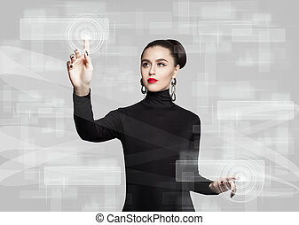 Woman touching virtual screen. Education, distance learning and new technology concept