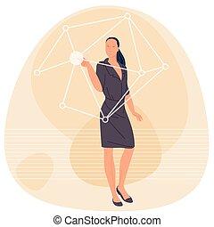Woman touching virtual screen.
