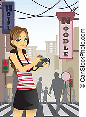 Woman tourist - A vector illustration of a woman tourist...
