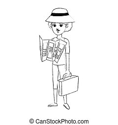 tourist icon image - woman tourist icon image vector ...