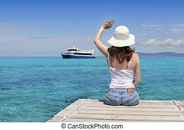 Woman tourist illetas Formentera goodbye - Woman tourist...