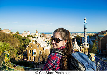 Woman tourist - Pretty young female tourist posing in Parc...