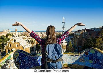 Woman tourist - Rear view of young female tourist enjoying...