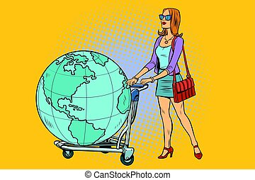 Woman tourist with a Luggage cart with the planet Earth