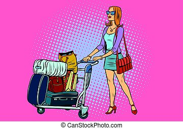 Woman tourist with Luggage cart