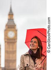 Woman Tourist With Umbrella by Big Ben, London, England