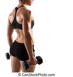 Woman trained - Muscular woman in shorts and top sports