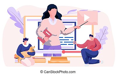 Woman training a dog basic commands with video tutorial on the computer flat vector illustration