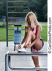 Woman training in a park