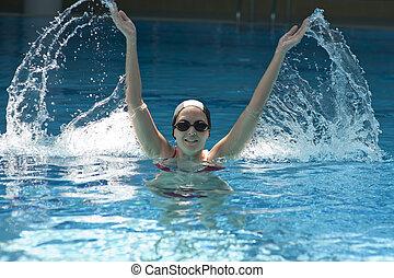 woman trains synchronous swiming
