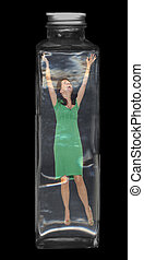 Woman Trapped Inside A Glass Bottle - Let me out -- a woman...