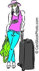 woman travel vector illustration