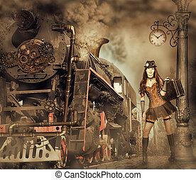 Woman traveler holding suitcase on platform of Railway...