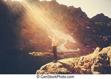 Woman Traveler meditating yoga