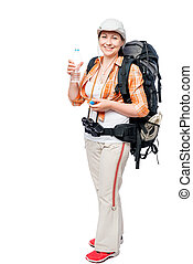 woman traveler with a backpack and a bottle of water on a white background