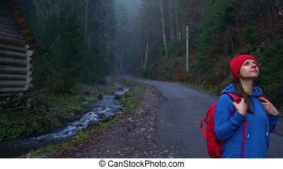 Woman traveler with a backpack walks on the road in the...