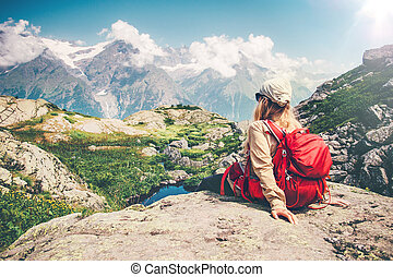 Woman Traveler with backpack