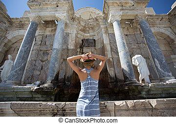 woman traveller enjoying view of ancient city of Sagalassps