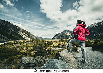 Woman Traveller Traveling in Wilderness Landscape - Woman...