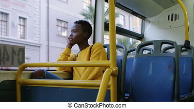Woman travelling in bus 4k - Thoughtful woman travelling in...