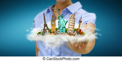 Woman travelling the world - Young woman holding a cloud...