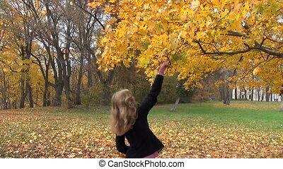 woman tree leaves branch