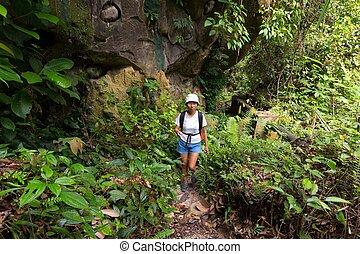 Woman trekking in jungle