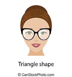Woman triangle face shape