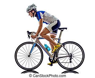 woman triathlon ironman athlete cyclist cycling on white ...
