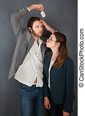 Woman Tries to Kiss a Man