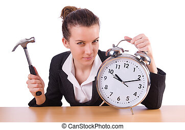 Woman trying to break the clock