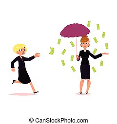 Woman trying to catch flying money, banknote rain