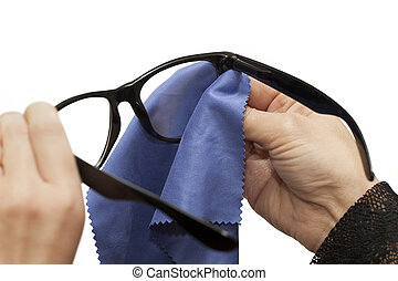 Woman trying to clean glasses on a white background