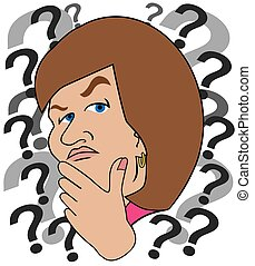 A perplexed cartoon woman is trying to make a decision