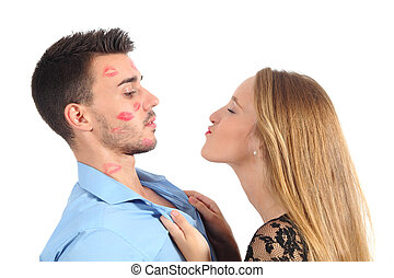 Woman trying to kiss a man desperately isolated on a white ...