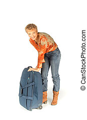 Woman trying to open her suitcase