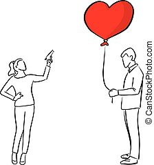woman trying to shoot the red heart shape balloon of a man vector illustration sketch doodle hand drawn with black lines isolated on white background. Broken heart concept.