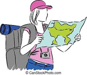 woman turist illustration