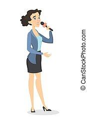 Woman TV reporter.