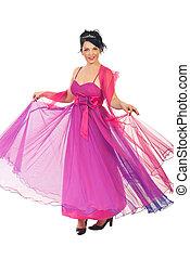 Woman twirl her pink dress