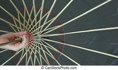 Woman Twirling Black Asian Umbrella