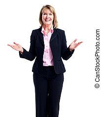 woman., uitvoerend, zakelijk