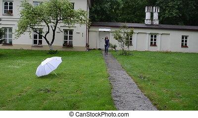 woman umbrella smile spin