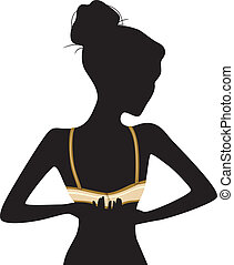 Woman Unclasping Bra Silhouette - Illustration Featuring the...