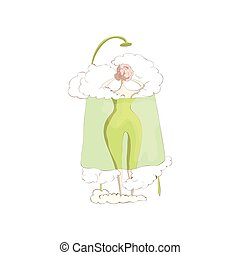 Woman under a green blanket steam room. Vector illustration on white background.